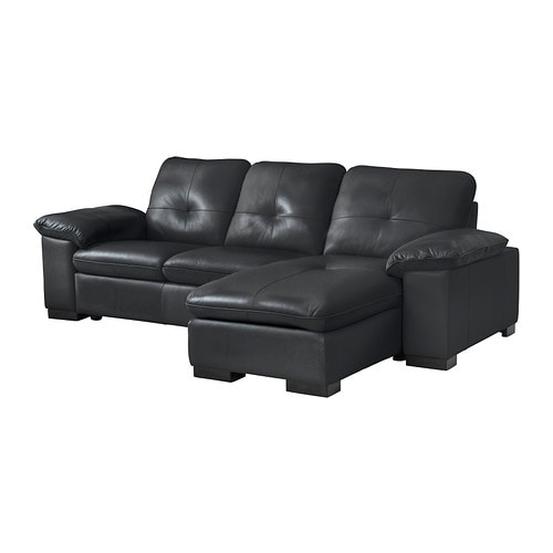 DAGSTORP Two-seat sofa and chaise longue IKEA Soft, hardwearing and easy care leather; practical for families with children.