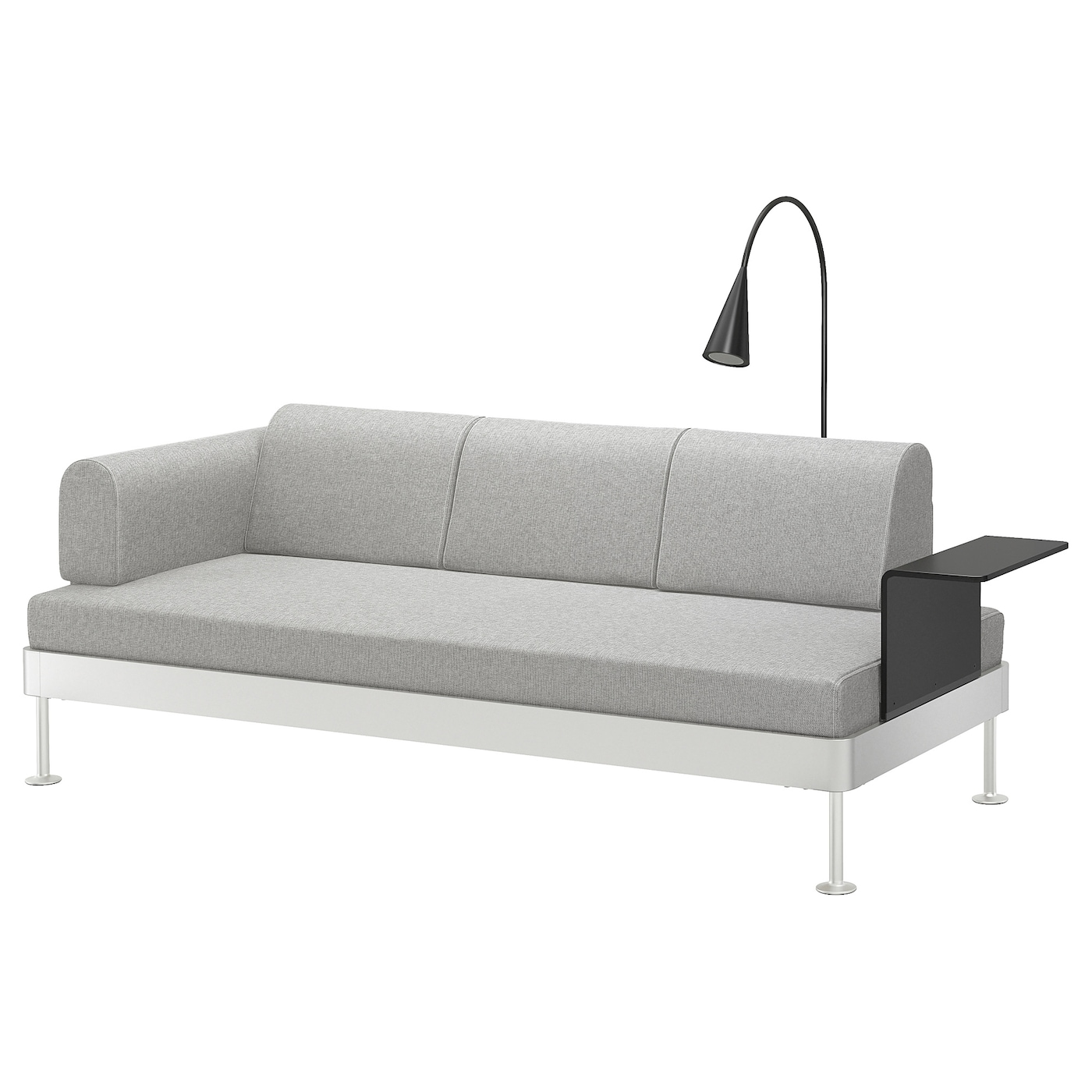 delaktig 3 seat sofa w side table and lamp tallmyra white black ikea. Black Bedroom Furniture Sets. Home Design Ideas