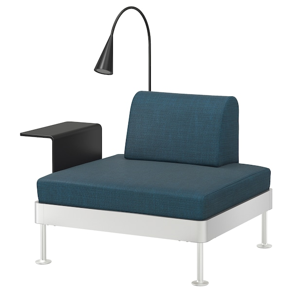 DELAKTIG Armchair with side table and lamp, Hillared dark blue