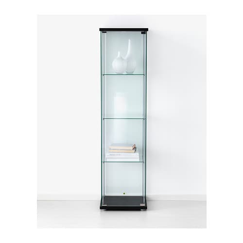 Detolf glass door cabinet black brown 43x163 cm ikea Glass cabinet doors