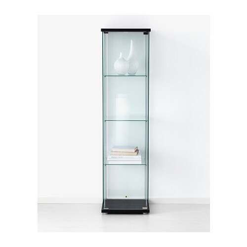Detolf glass door cabinet black brown 43x163 cm ikea - Vitrine en verre ikea ...