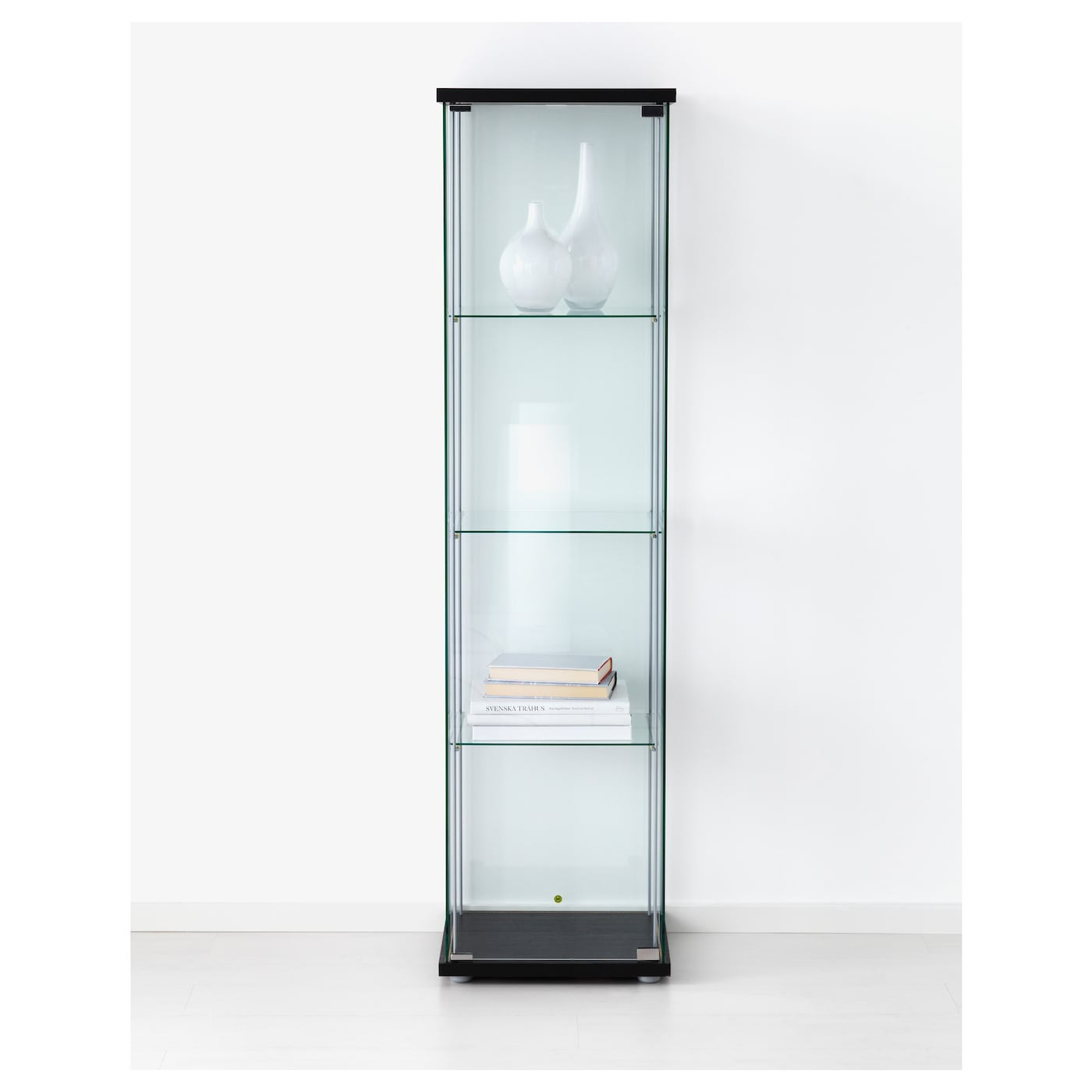 Detolf glass door cabinet black brown 43x163 cm ikea for Meuble vitrine ikea