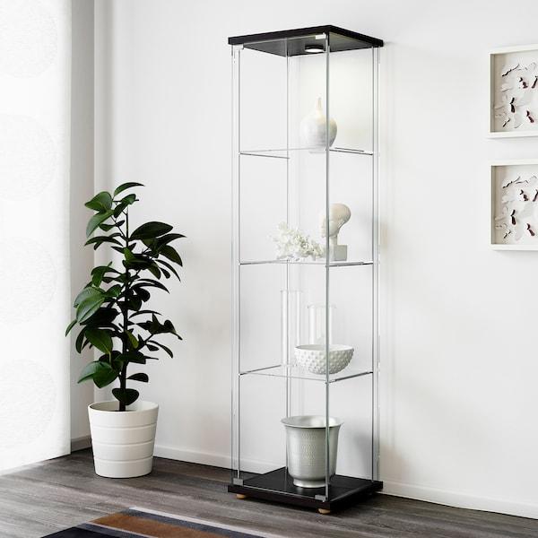 DETOLF Glass-door cabinet, black-brown, 43x163 cm