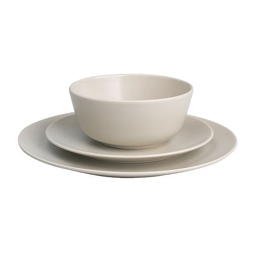 DINERA 18-piece service IKEA With its simple shapes, muted colours and matt glaze, the dinnerware gives a rustic feel to your table setting.
