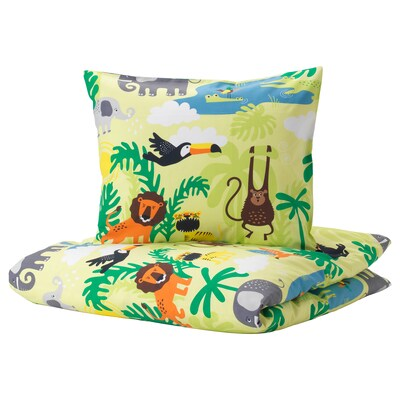 DJUNGELSKOG Quilt cover and pillowcase, animal/green, 150x200/50x80 cm