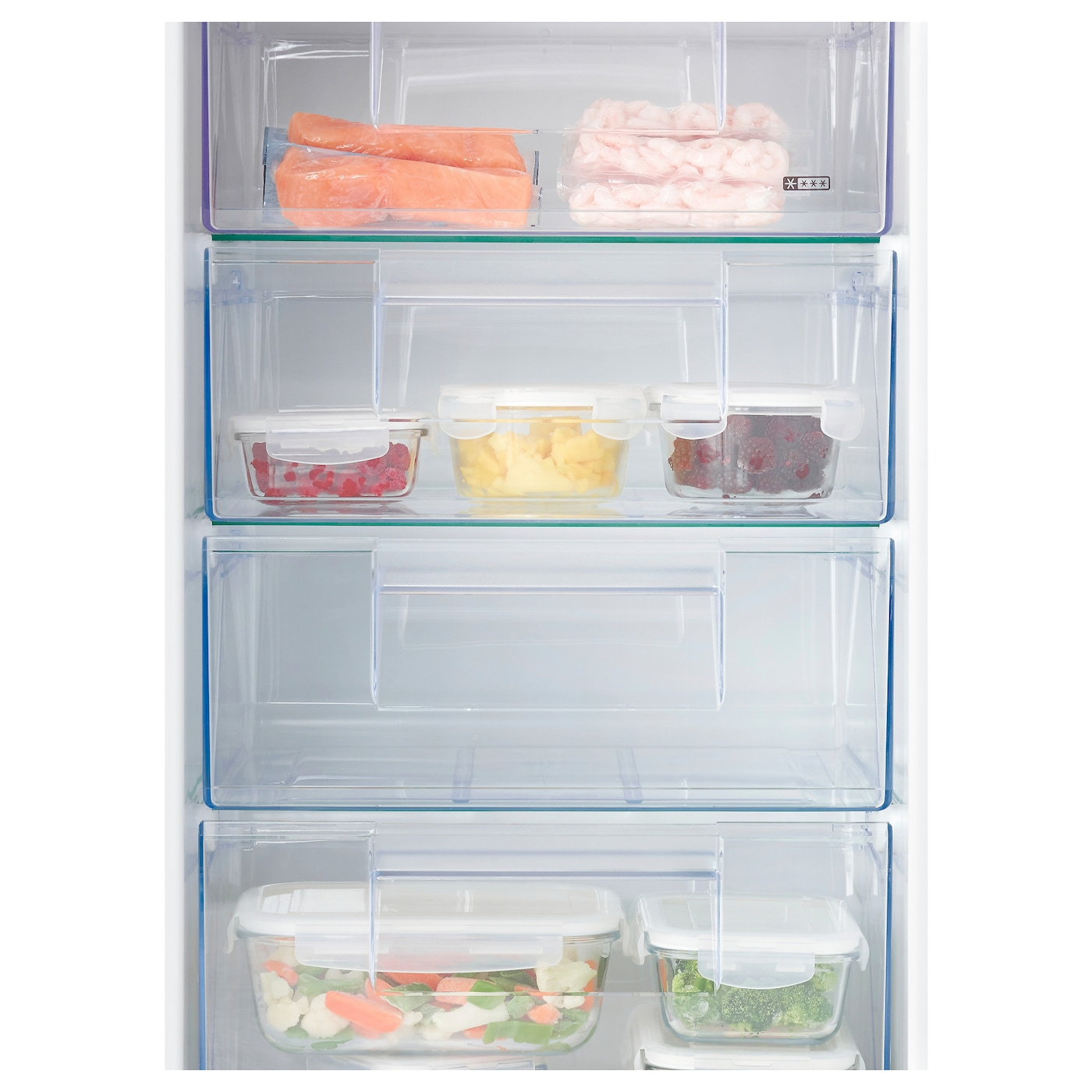 IKEA DJUPFRYSA integrated freezer A++ Smooth inner walls and 4 removable drawers for easy cleaning.
