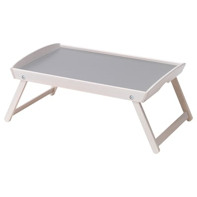 DJURA Bed tray, white stained/dark grey, 58x38x25 cm