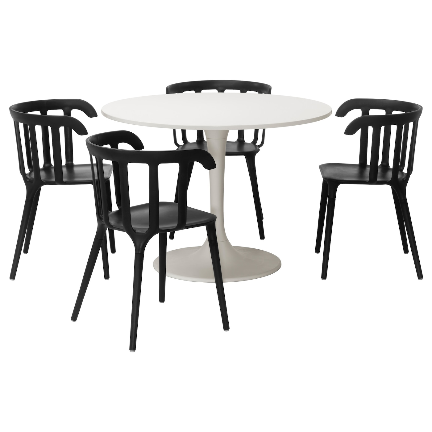 Docksta ikea ps 2012 table and 4 chairs white black 105 cm for Ikea dining table and chairs set