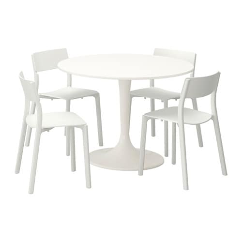 DOCKSTA/JANINGE Table And 4 Chairs White/white 105 Cm