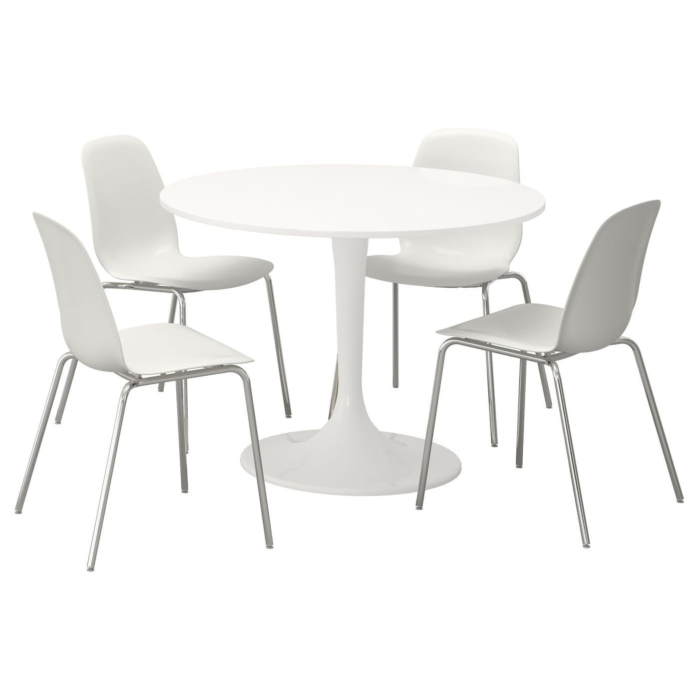 Docksta leifarne table and 4 chairs white white 105 cm ikea for White round dining table set