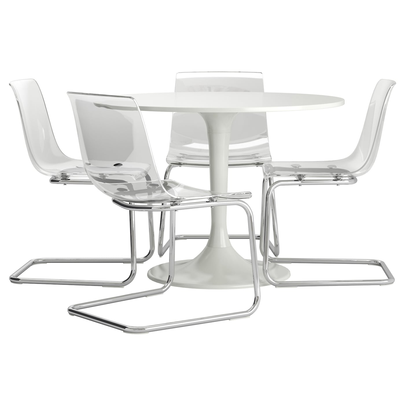 Docksta tobias table and 4 chairs white transparent 105 cm for Docksta dining table