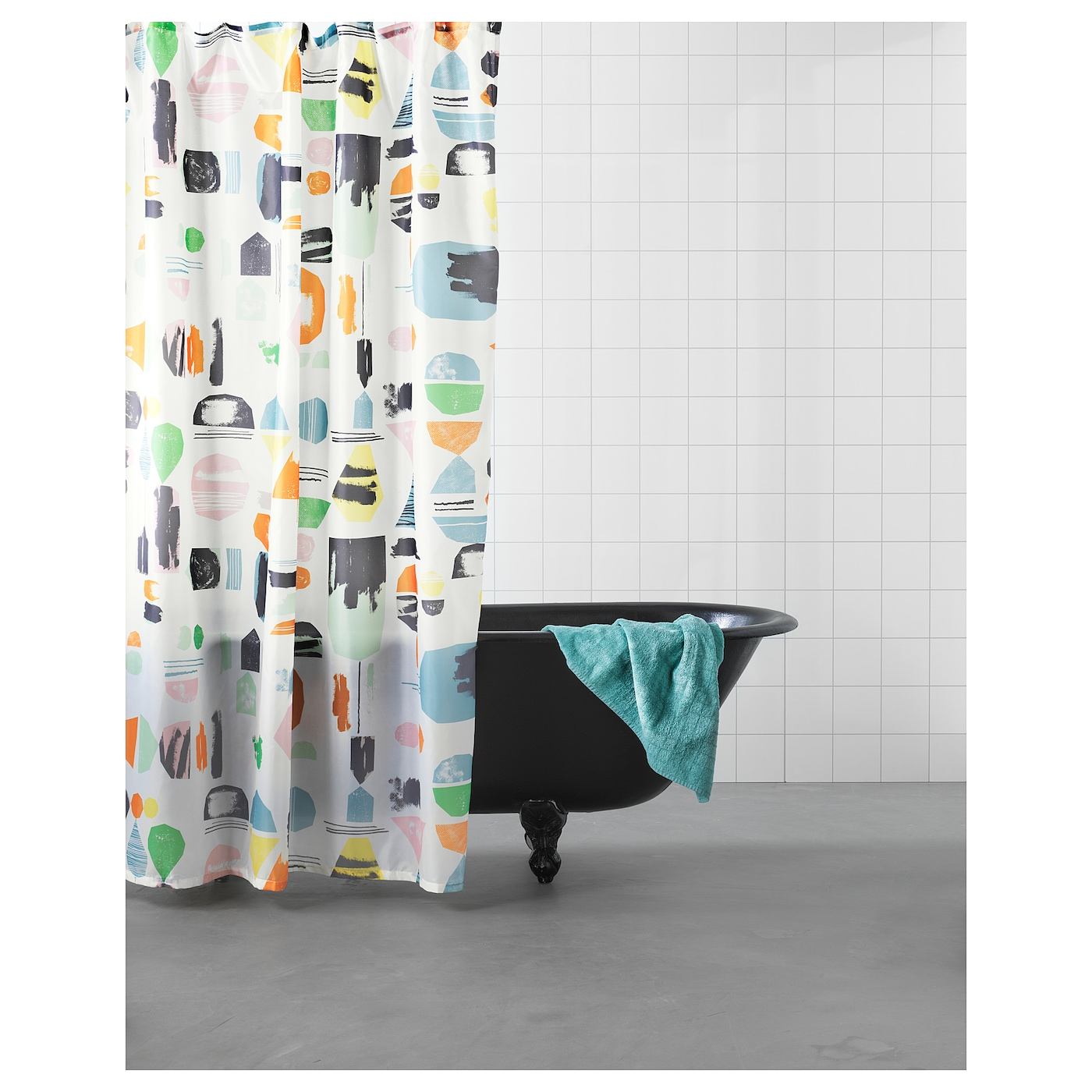 IKEA DOFTKLINT shower curtain Densely-woven polyester fabric with water-repellent coating.