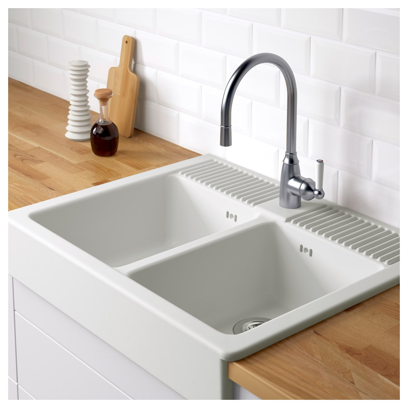 IKEA DOMSJÖ double bowl 25 year guarantee. Read about the terms in the guarantee brochure.