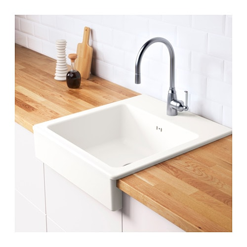 domsj onset sink 1 bowl white 62x66 cm ikea. Black Bedroom Furniture Sets. Home Design Ideas