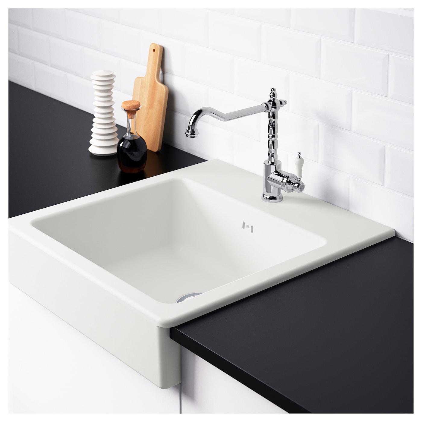 DOMSJÖ Onset Sink, 1 Bowl White 62x66 Cm