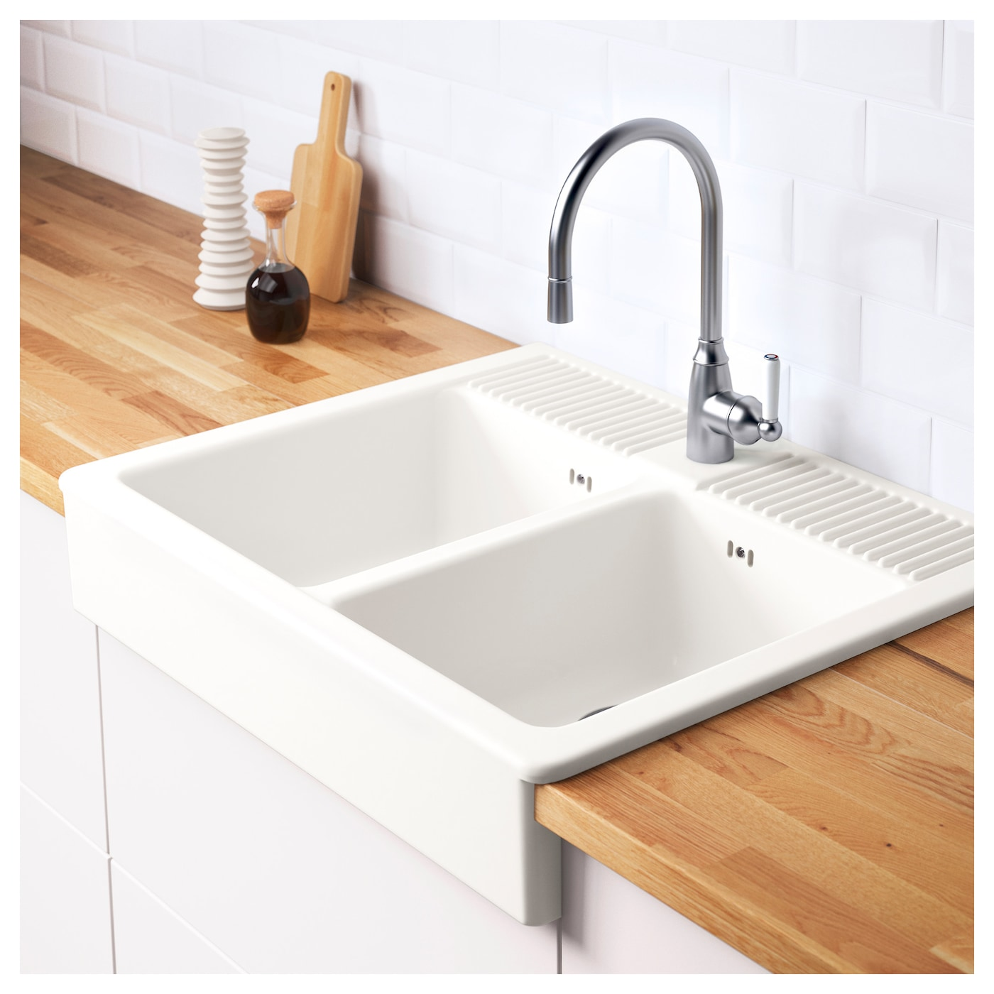 domsj onset sink 2 bowls white 83x66 cm ikea. Black Bedroom Furniture Sets. Home Design Ideas