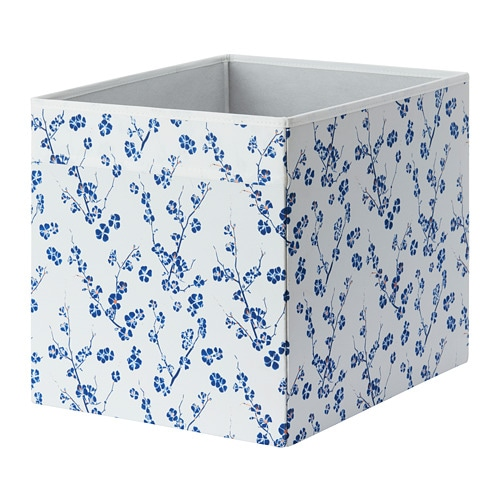 dr na box white blue floral patterned 33x38x33 cm ikea. Black Bedroom Furniture Sets. Home Design Ideas