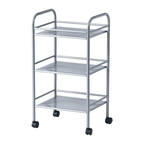 Draggan Trolley Silver Colour 41x32x75 Cm Ikea