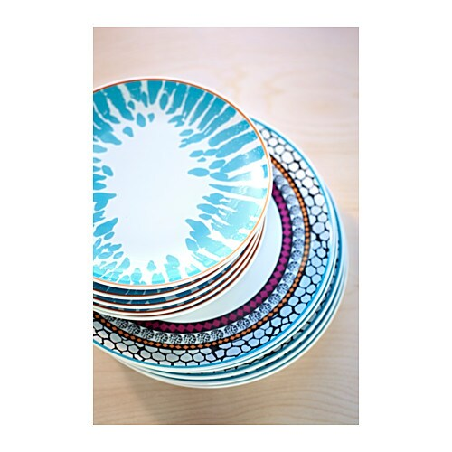 driftig side plate patterned turquoise 21 cm ikea. Black Bedroom Furniture Sets. Home Design Ideas