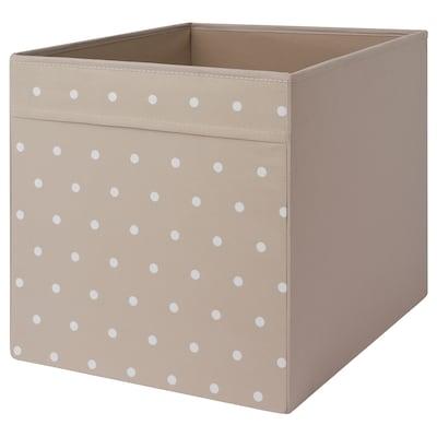 DRÖNA Box, dotted/beige, 33x38x33 cm