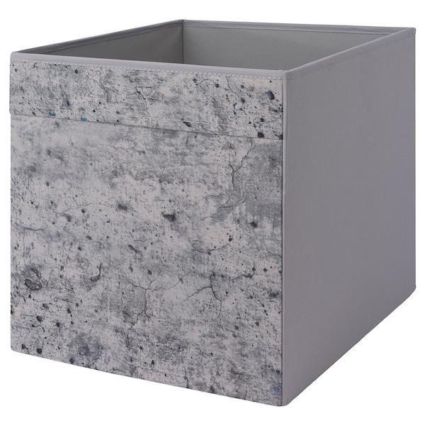 DRÖNA Box, grey concrete effect/grey, 33x38x33 cm