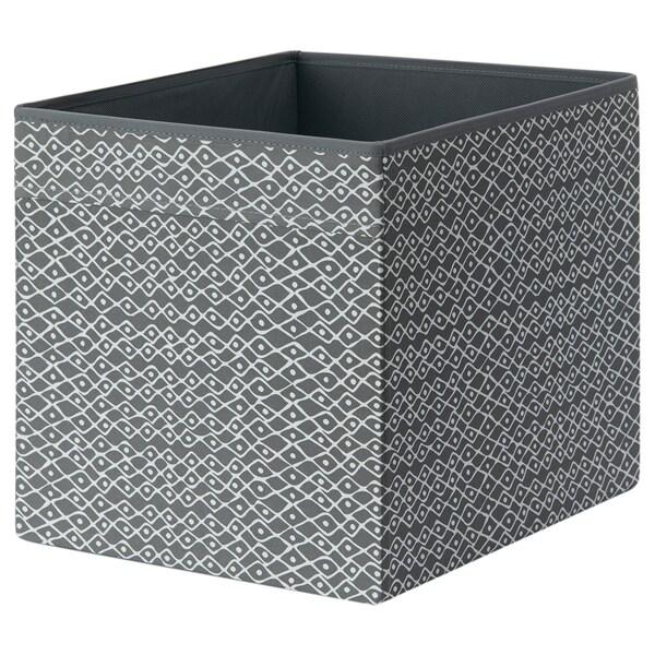 DRÖNA Box, grey/white patterned, 33x38x33 cm