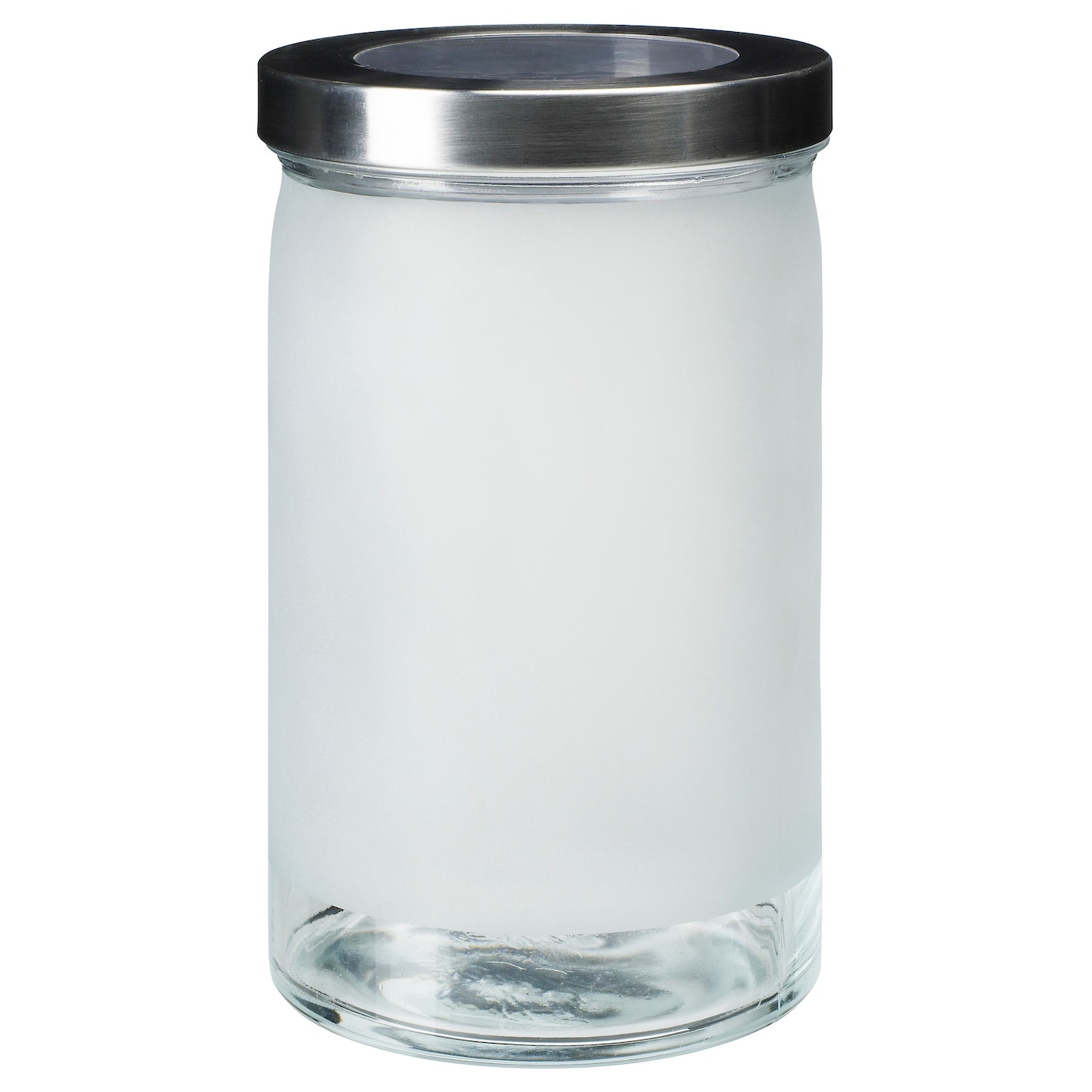 DROPPAR Jar With Lid Frosted Glass/stainless Steel 1.8 L