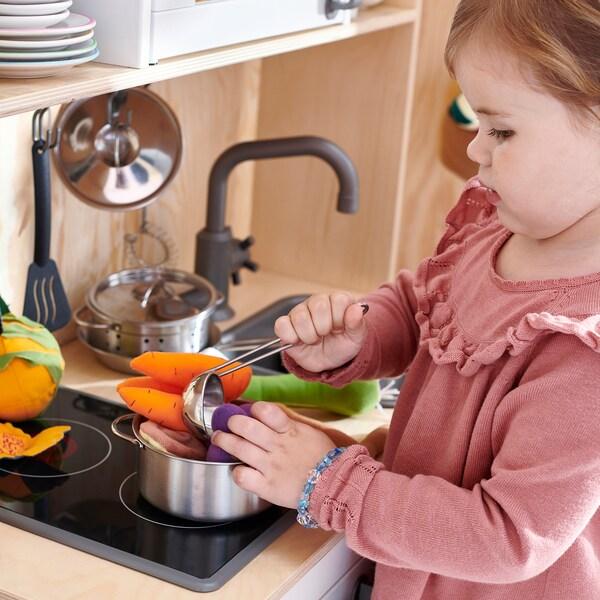 DUKTIG stainless steel colour, 5 piece toy cookware set IKEA