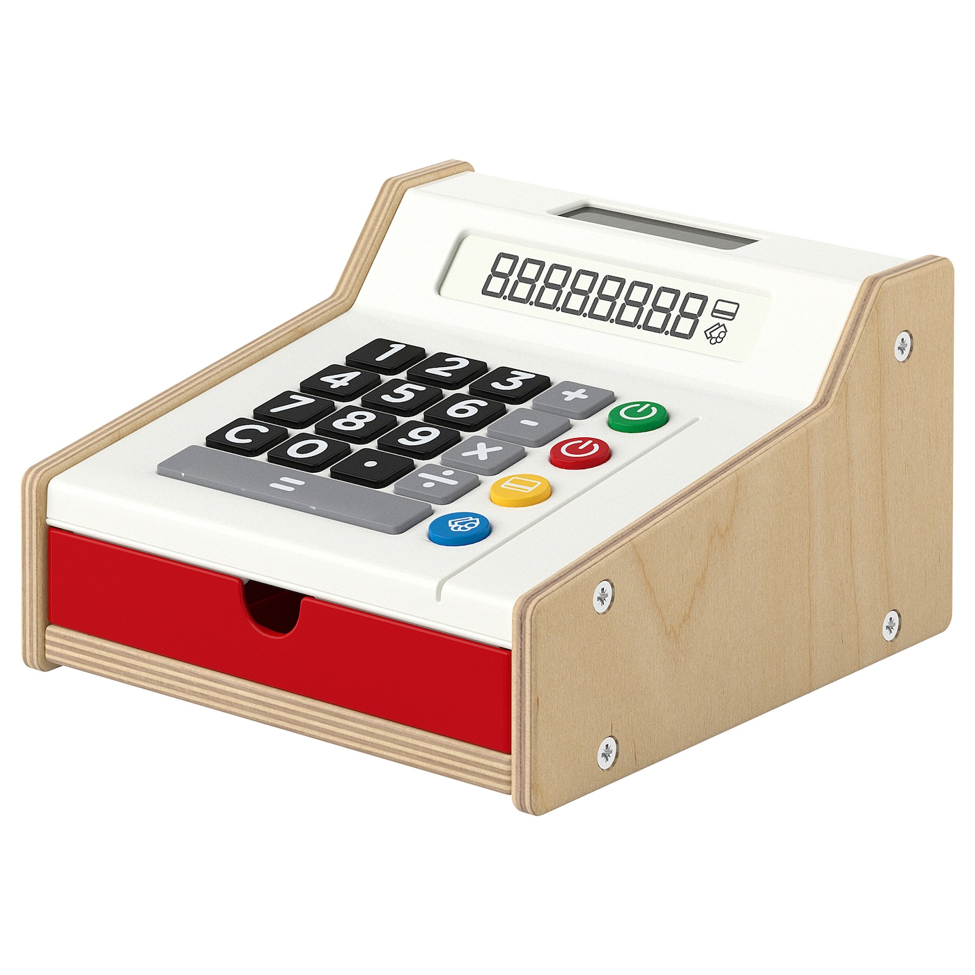 IKEA DUKTIG toy cash register No need to change batteries as the calculator runs on solar cells.