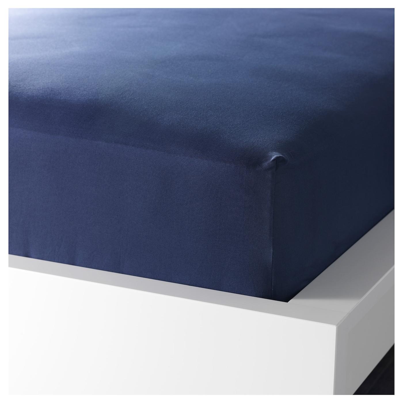 dvala fitted sheet dark blue 140x200 cm ikea. Black Bedroom Furniture Sets. Home Design Ideas