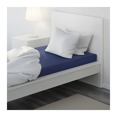 dvala fitted sheet dark blue 90x200 cm ikea. Black Bedroom Furniture Sets. Home Design Ideas