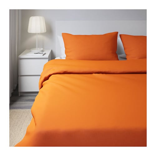 dvala quilt cover and 4 pillowcases orange 200x200 50x80 cm ikea. Black Bedroom Furniture Sets. Home Design Ideas