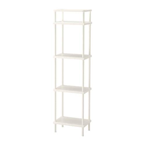 IKEA DYNAN shelf unit You have room for up to 8 bath towels in the space between the shelves.