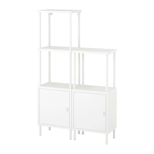 Dynan Shelving Unit With 2 Cabinets White 80 X 27 X 94 134 Cm Ikea