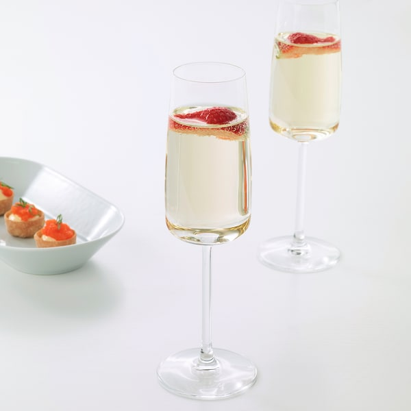 DYRGRIP Champagne glass, clear glass, 25 cl