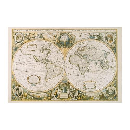 Edelvik poster vintage world map 61x91 cm ikea for Weltkarte poster ikea