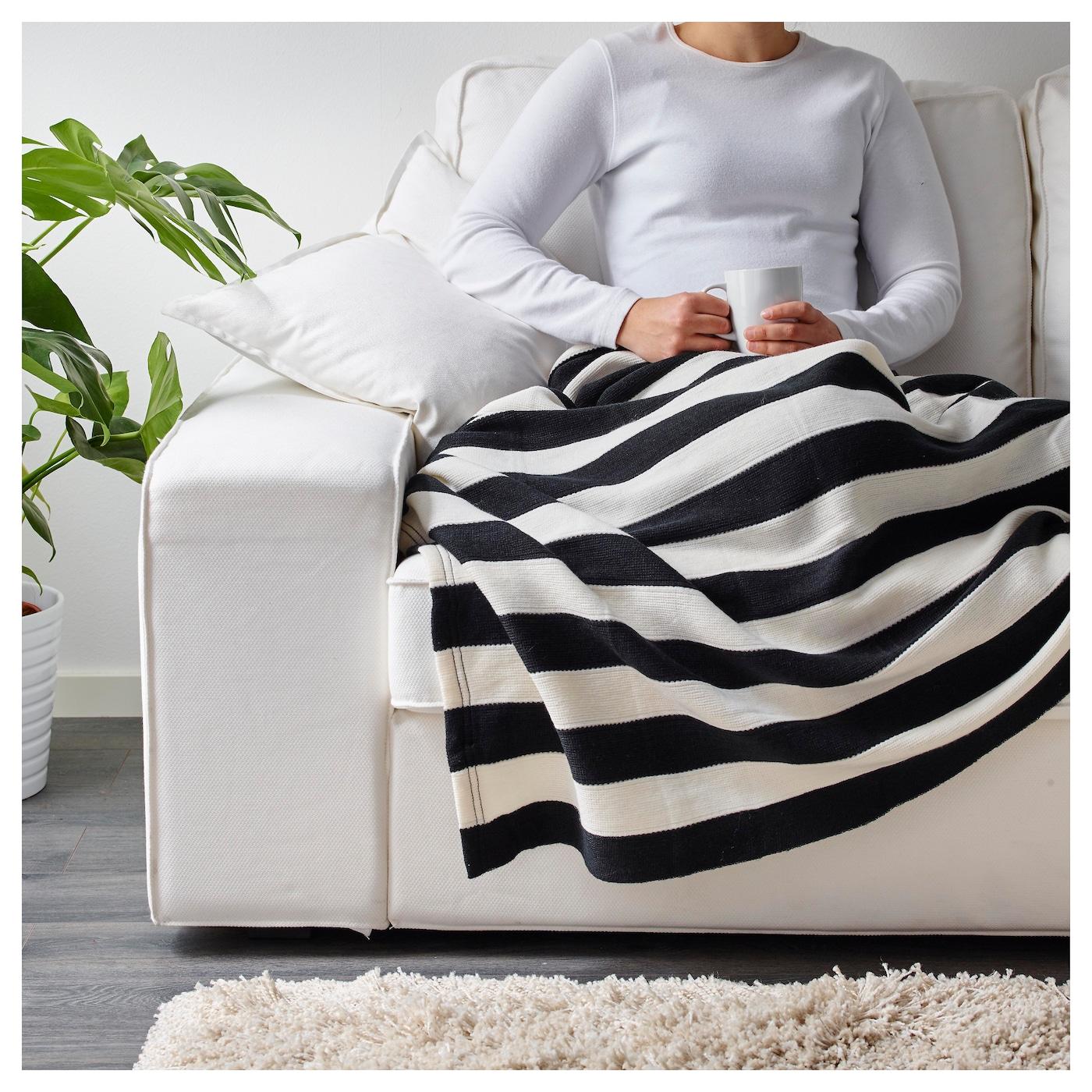 eivor throw black white 125x170 cm ikea. Black Bedroom Furniture Sets. Home Design Ideas