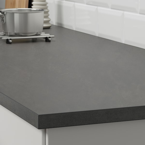 EKBACKEN Worktop, concrete effect/laminate, 246x2.8 cm
