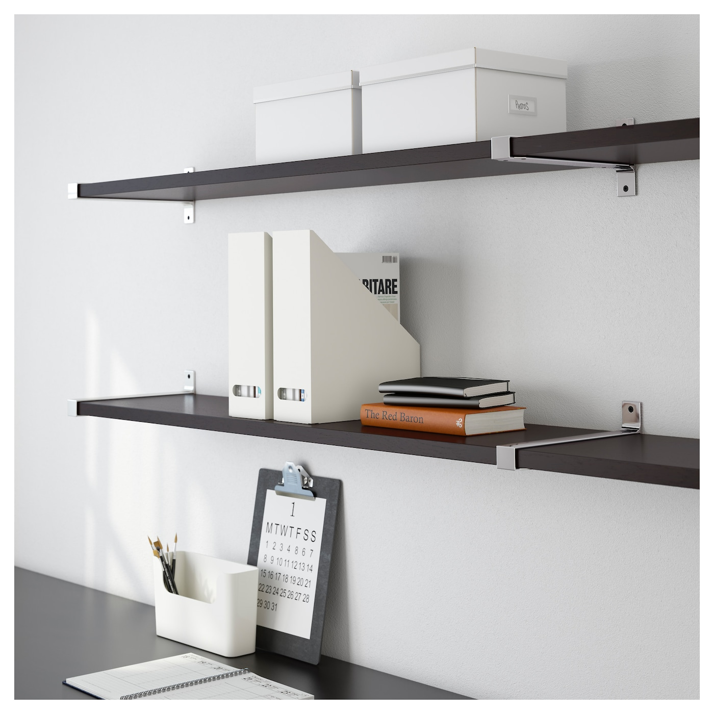 IKEA EKBY BJÄRNUM/EKBY JÄRPEN wall shelf Partitioning wall inside keeps shelves in place.