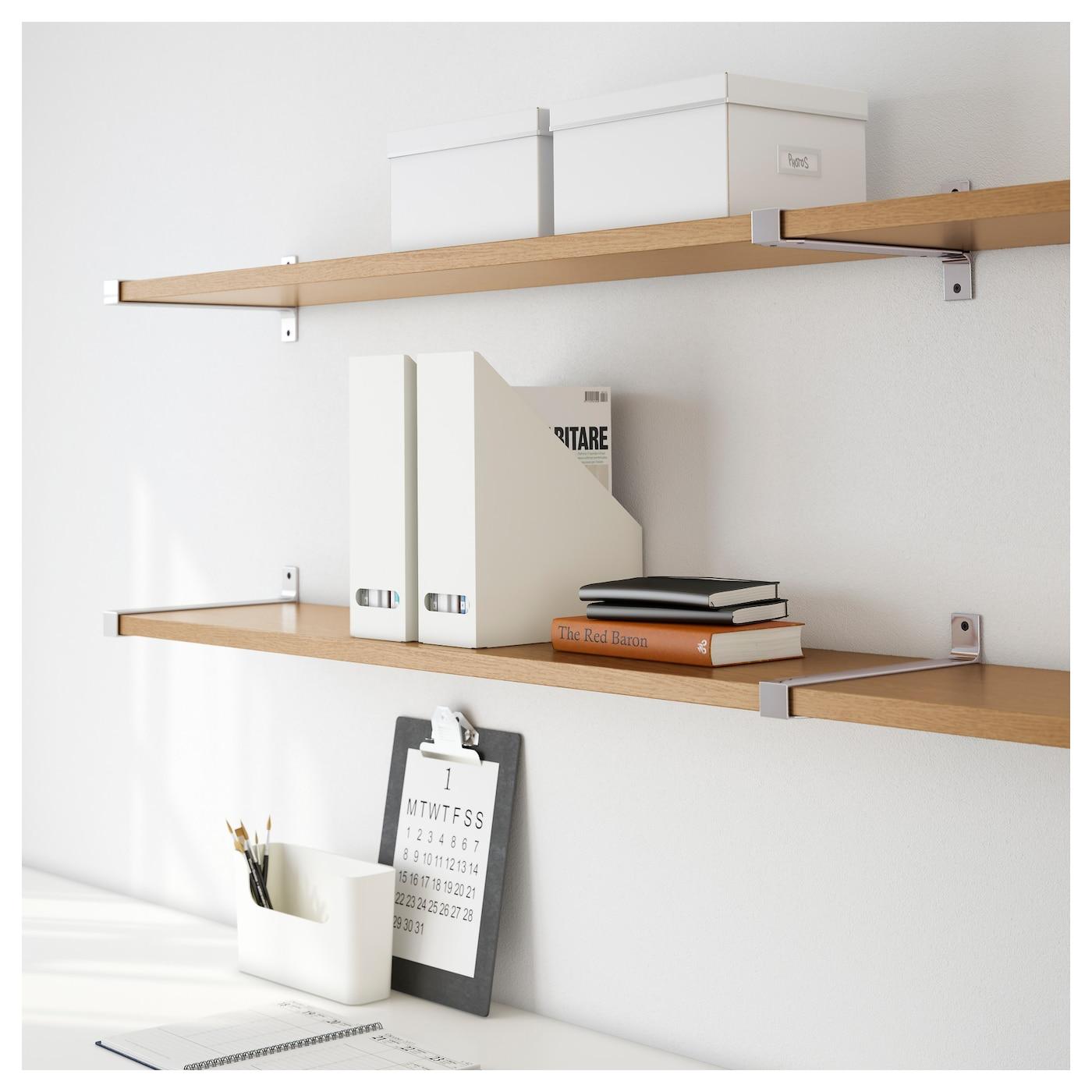 Ekby Bjarnum Ekby Jarpen Wall Shelf Oak Aluminium 239x28 Cm Ikea