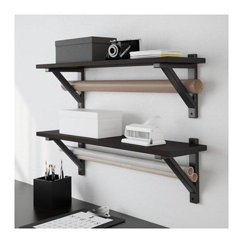 ekby valter ekby hemnes wall shelf black brown black 79x19 cm ikea. Black Bedroom Furniture Sets. Home Design Ideas