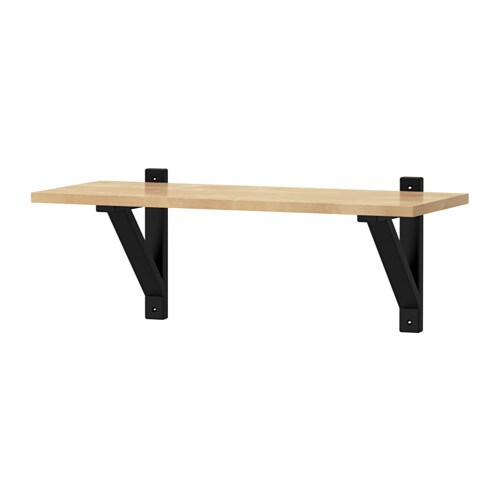 Ekby Valter Ekby Laiva Shelf Birch Black Brown 59x24 Cm Ikea
