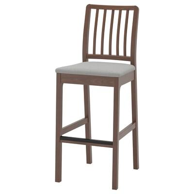 EKEDALEN Bar stool with backrest, brown/Ramna light grey, 75 cm