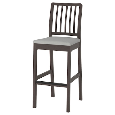 EKEDALEN Bar stool with backrest, dark brown/Ramna light grey, 75 cm