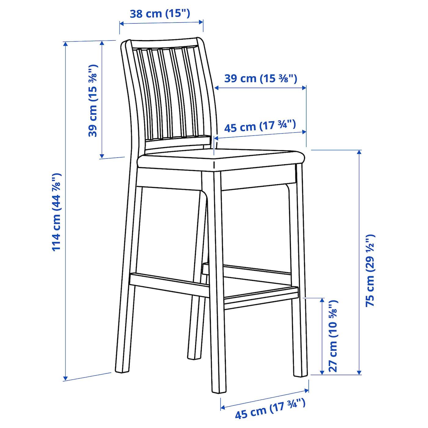 EKEDALEN Bar stool with backrest - white/Ramna light grey 5 cm