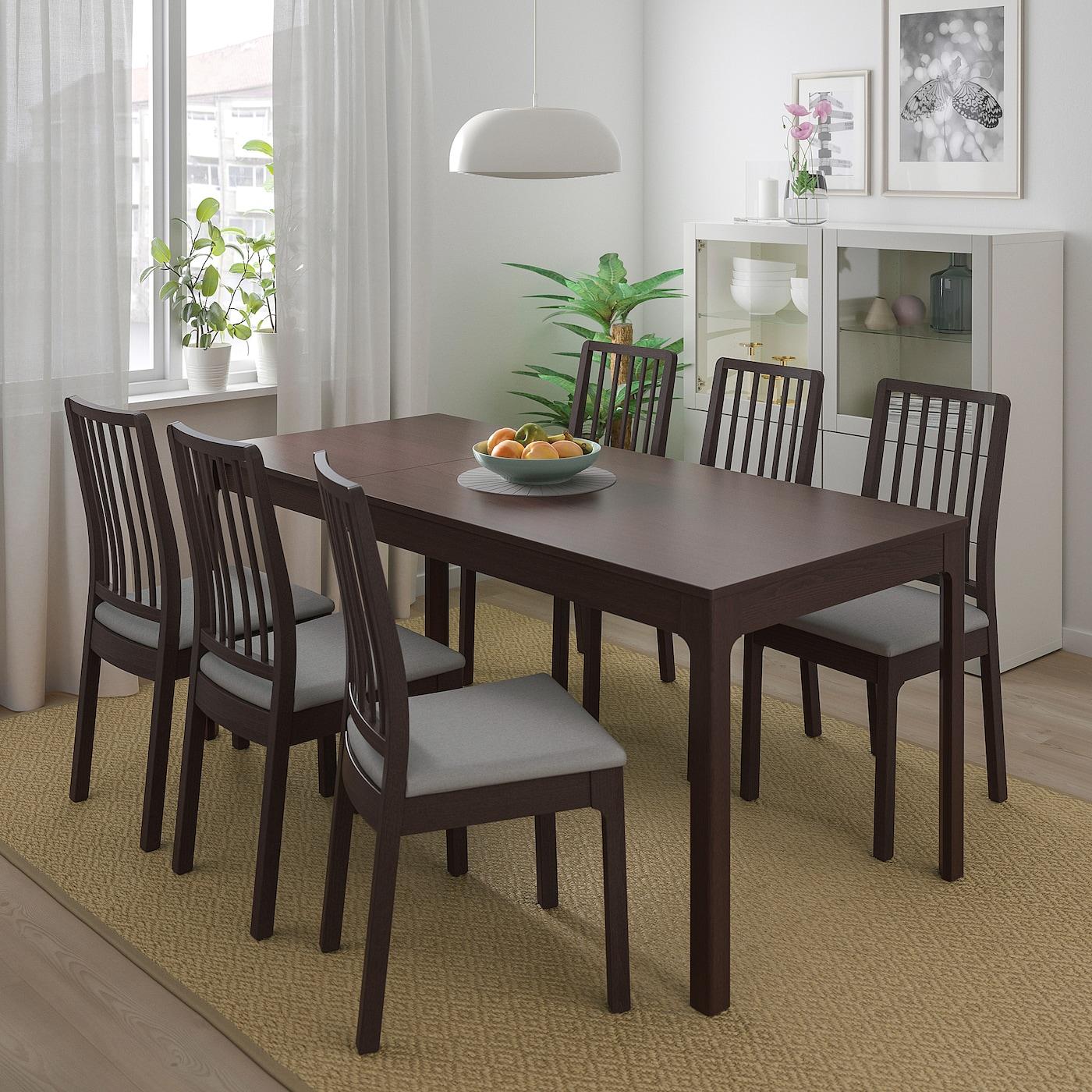 Ekedalen Dark Brown Extendable Table Min Length 120 Cm Ikea