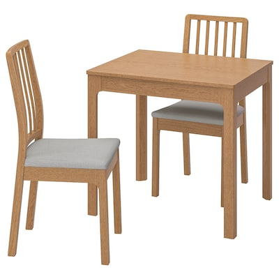 EKEDALEN Table and 2 chairs, oak/Ramna light grey, 80/120 cm