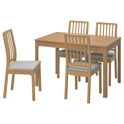 EKEDALEN Table and 4 chairs, oak/Ramna light grey, 120/180 cm