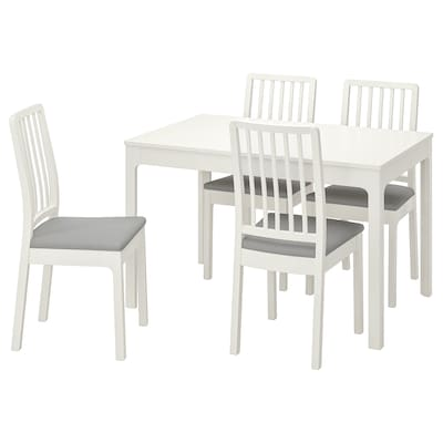 EKEDALEN Table and 4 chairs, white/Ramna light grey, 120/180 cm