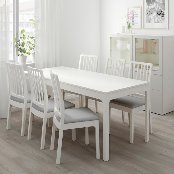 EKEDALEN / EKEDALEN Table and 4 chairs, white/Ramna light grey, 120/180 cm